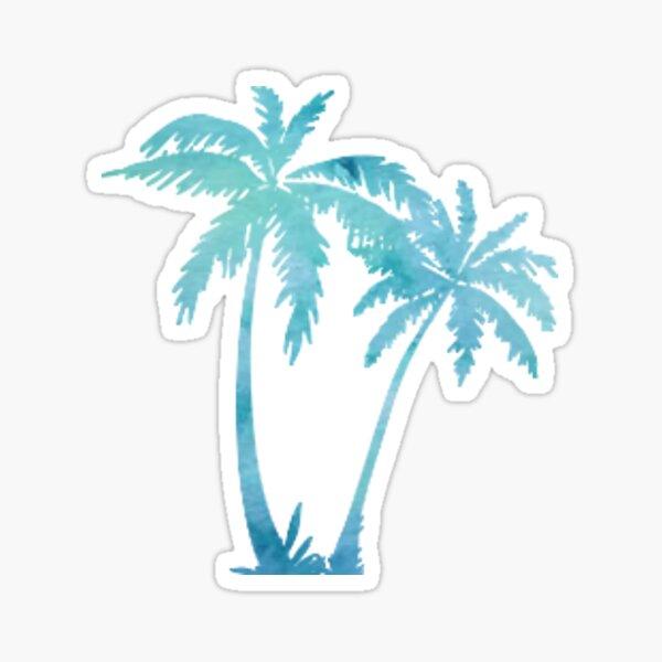 blue watercolor palm tree Sticker