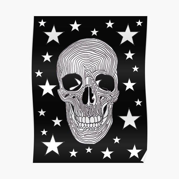 Calavera y Huesos cruzados de impresión. poli algodón Calavera impresa Tela Rojo Blanco Negro