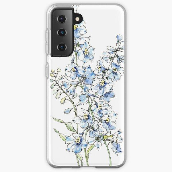 Blue Delphinium Flowers Samsung Galaxy Soft Case