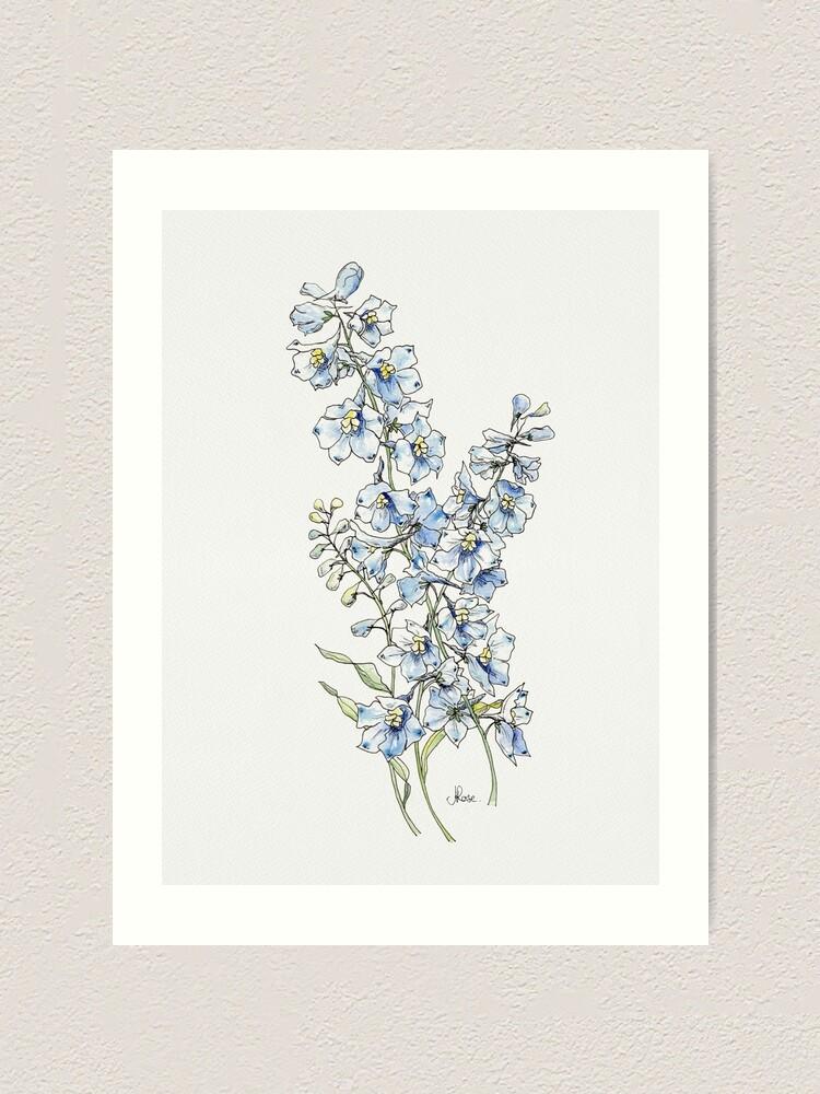 Alternate view of Blue Delphinium Flowers Art Print