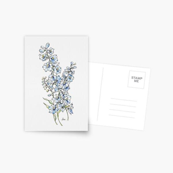 Blue Delphinium Flowers Postcard