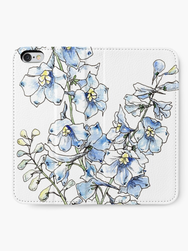Alternate view of Blue Delphinium Flowers iPhone Wallet