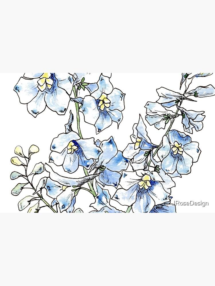 Blue Delphinium Flowers by JRoseDesign