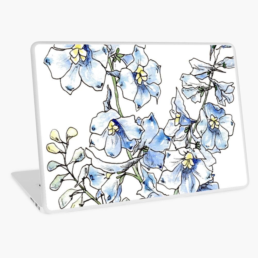 Blue Delphinium Flowers Laptop Skin