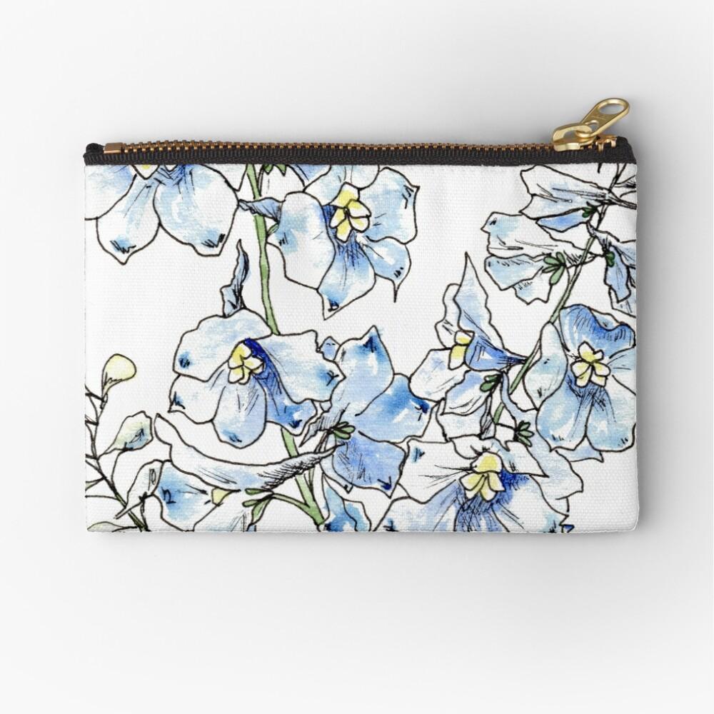 Blue Delphinium Flowers Zipper Pouch