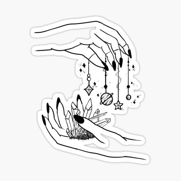 Witch pastel goth hands and galaxy planets  Sticker