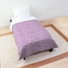 Swirl floral - grey on pink Comforter