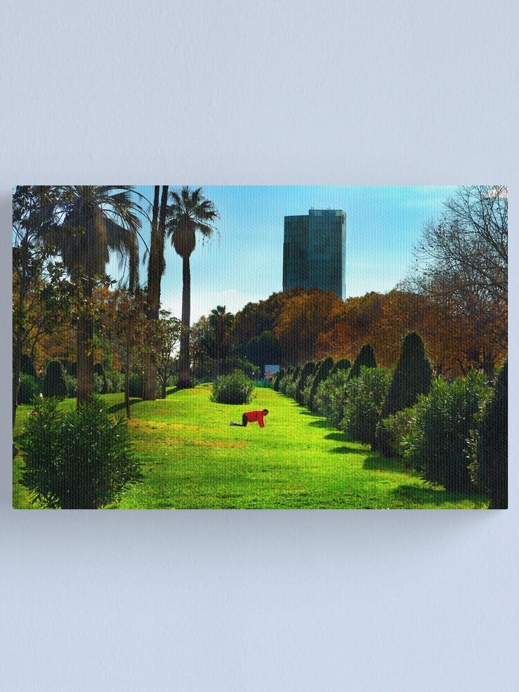 Alternate view of Stretching at Parc de la Ciutadella, Barcelona Canvas Print