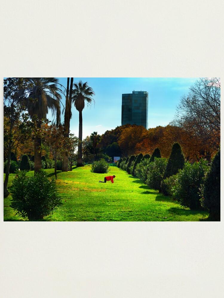 Alternate view of Stretching at Parc de la Ciutadella, Barcelona Photographic Print