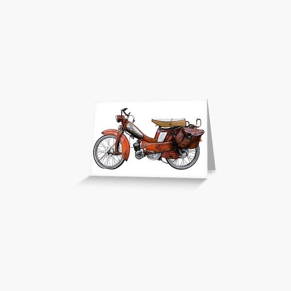 Vintage French Motobecane Moped Greeting Card