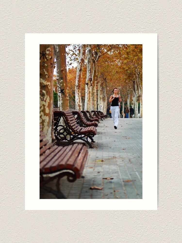 Alternate view of Girl Jogging in Barcelona Park Art Print