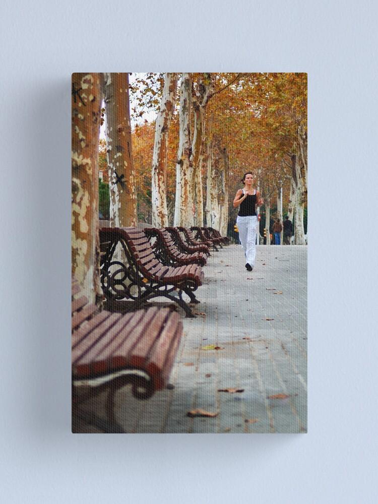 Alternate view of Girl Jogging in Barcelona Park Canvas Print