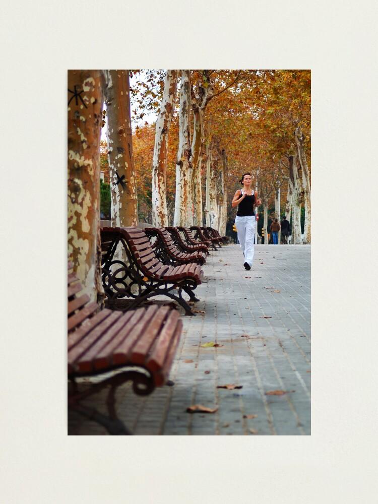 Alternate view of Girl Jogging in Barcelona Park Photographic Print