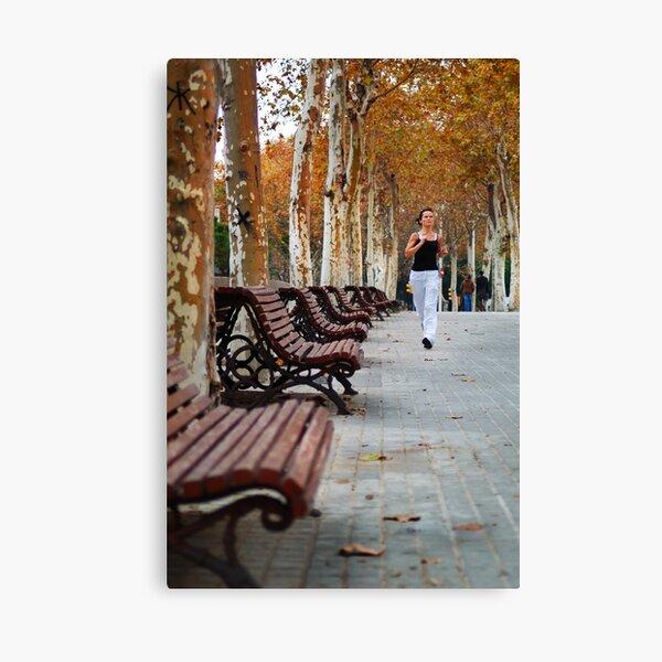 Girl Jogging in Barcelona Park Canvas Print