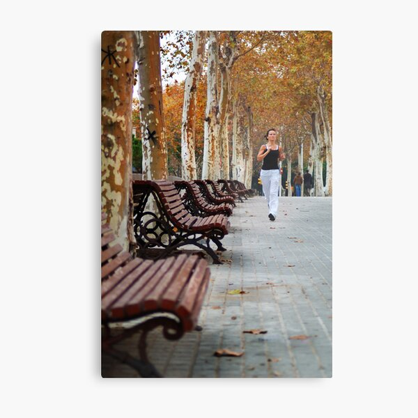 Girl Jogging in Barcelona Park Metal Print