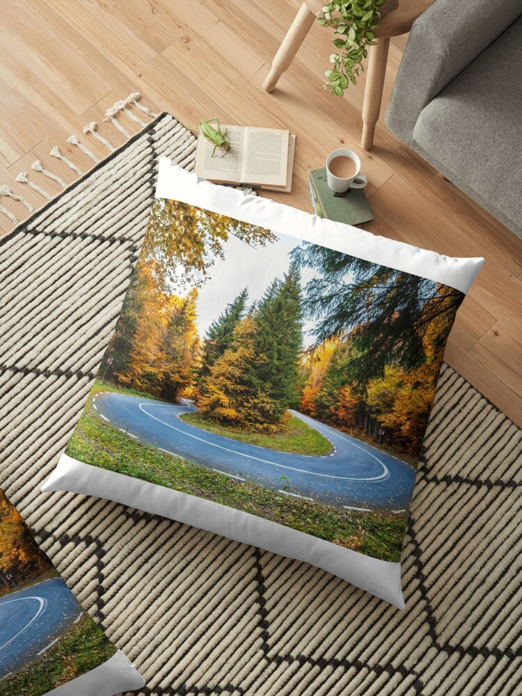 Autumn Forest Road Landscape Mountain Forest Curved Road In Autumn Thick Forest With Road Cutting Through Floor Pillow By Alex2789 Redbubble