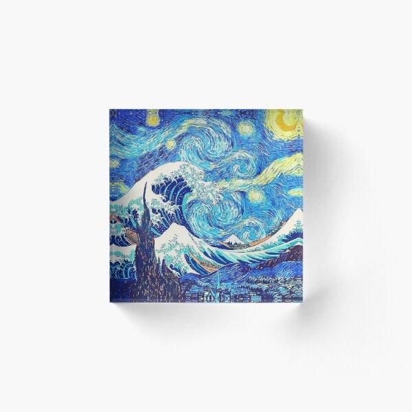 The Great Wave Hokusai - Starry Night Van Gogh Acrylic Block