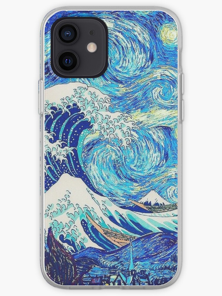 La grande vague Hokusai - La nuit étoilée de Van Gogh   Coque iPhone