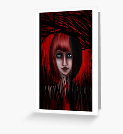 Into The Red Forest Greeting Card