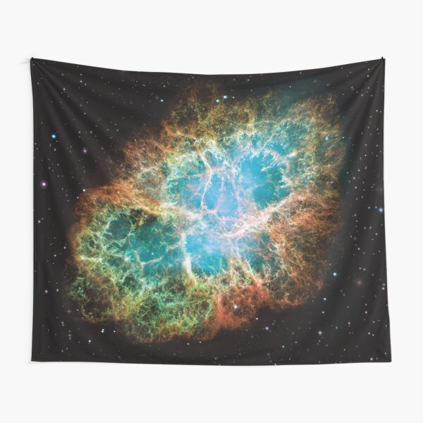 Crab Nebula NGC 1952, Taurus A supernova remnant in the constellation of Taurus Hubble Space Telescope Picture HD HIGH QUALITY Tapestry