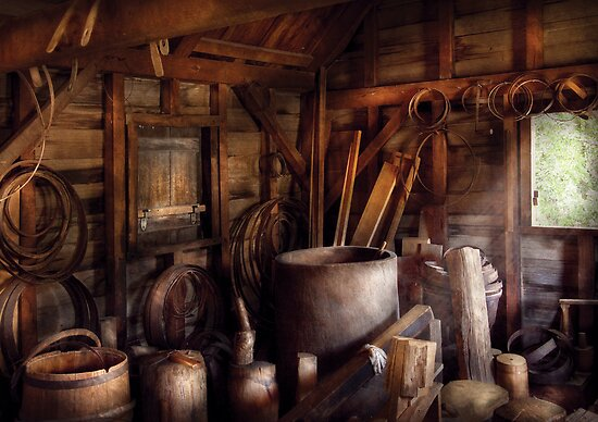 Barrel Maker - In the back of the barrel makers shop by Michael Savad