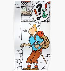 Tintin puzzled Poster