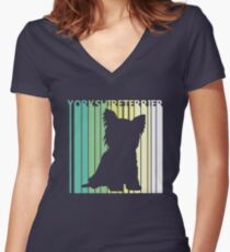 Cute Yorkshire Terrier Silhouette Women's Fitted V-Neck T-Shirt
