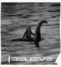 Bigfoot Riding Loch Ness Monster HQ Poster
