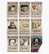 One Piece - All Wanted Poster Design for Shirts, Cases, Cups and more! Poster