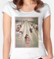 Vintage Illustration of a Toboggan Race (1886) Women's Fitted Scoop T-Shirt