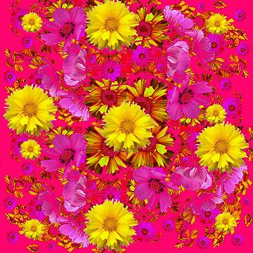 YELLOW COREOPSIS FLOWERS FUCHSIA-CERISE FLORAL  by sharlesart