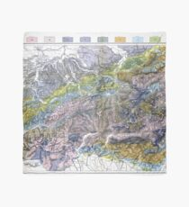 Vintage Geological Map of The Alps (1876) Scarf
