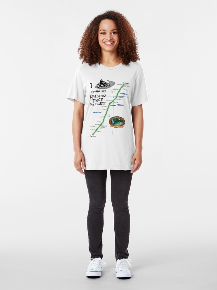 Alternate view of I Rode the Natchez Trace Parkway. Slim Fit T-Shirt