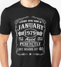 Born in January 1979, Life begins at 40 Slim Fit T-Shirt