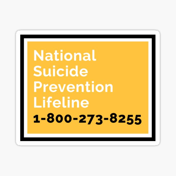 National Suicide Prevention Lifeline (U.S.) Sticker