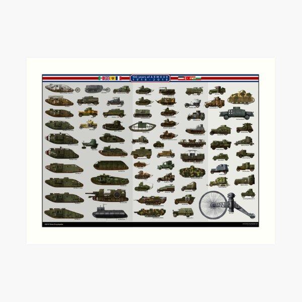WW1 centennial - Tanks and Armored Vehicles Art Print