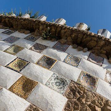 Capricious Trencadis Mosaics - Antoni Gaudi Tiles at Park Guell in the Hot Mediterranean Sun by GeorgiaM