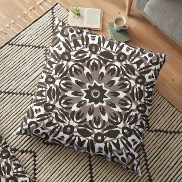 Grey, White & Black Flower Burst Mandala Floor Pillow