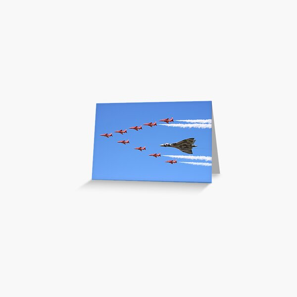 Final Vulcan flight with the Red Arrows 8 Greeting Card