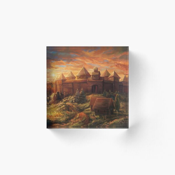 Medieval Fortress at Sunset Acrylic Block