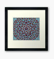 Maroon, Pale Maroon & Blue Flower Burst Mandala Framed Print