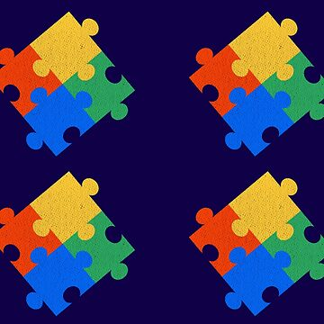 Puzzle Piece Pattern Autism Awareness Art by pbng80