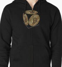 Bitcoin T-Shirt  Geschenk Krypto Internetgeld  Hoodie mit Reißverschluss