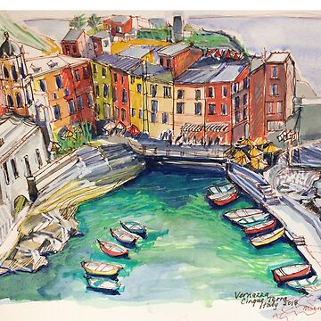 'Vernazza. Cinque Terre Italy' p&w 2018 by emgolding