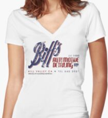 Biff's Auto Detailing Women's Fitted V-Neck T-Shirt