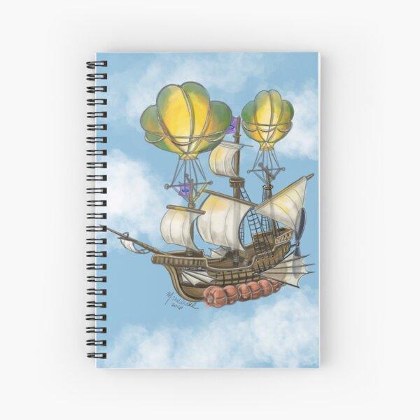 Fantasy Flying Ship by Missy Sheldrake Spiral Notebook