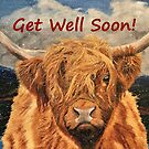 Highland Cow in Early Snow - Get Well Soon Card by EuniceWilkie