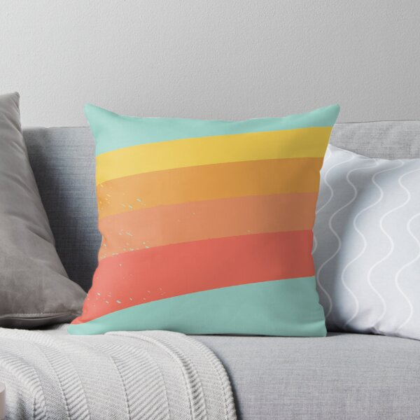Retro rainbow Throw Pillow