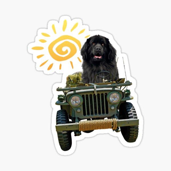 Black Newfie Driving Jeep Sticker