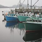 A fine soft day -- lobster boats at rest by Jean Knowles